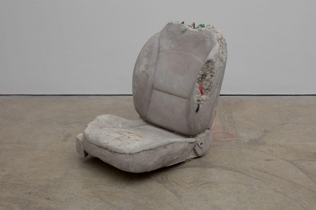 Josh Kline, Going Nowhere, 2017, polymerized gypsum, sand, gravel, urethane foam, rebar, acrylic and mixed media, 71 x 55 x 84 cm, 28 x 21 5/8 x 33 1/8 ins, courtesy Stuart Shave/Modern Art, London