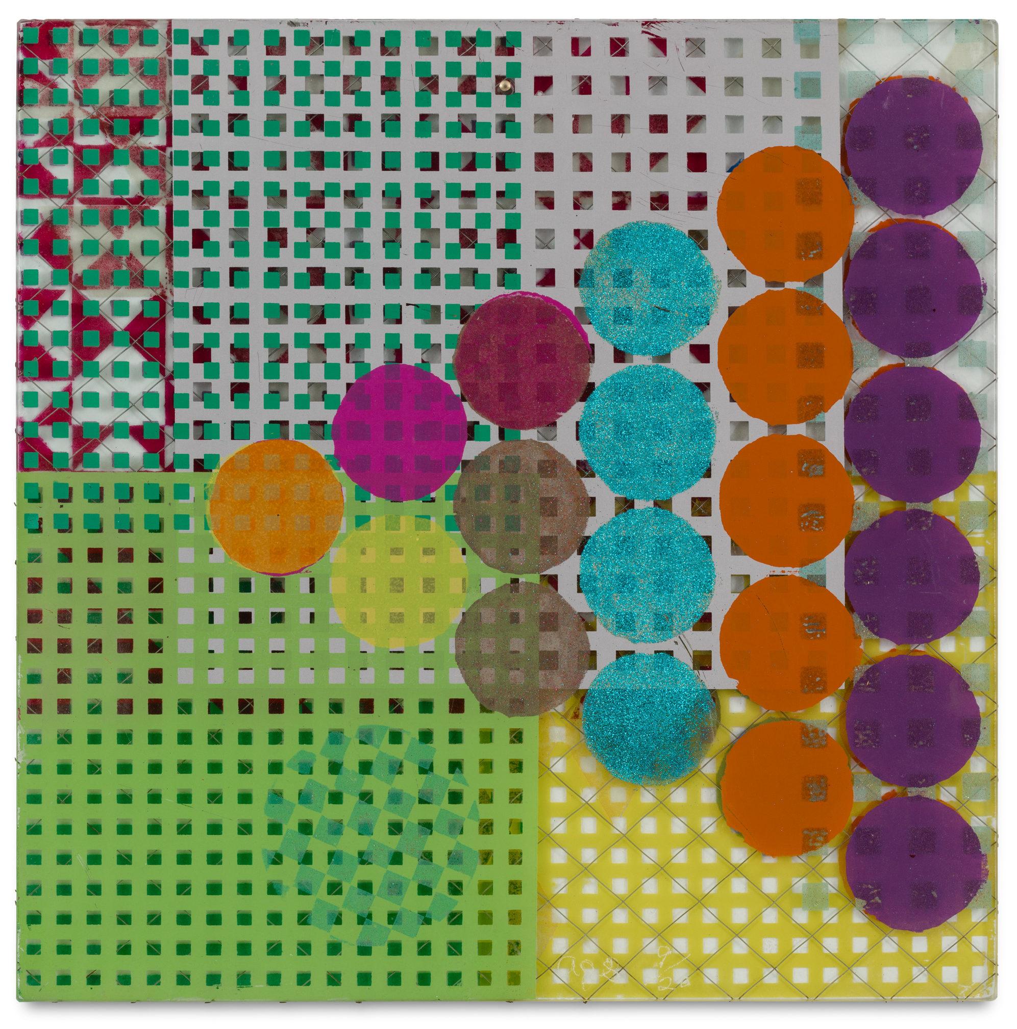 Alan Shields, Chicken Shit, 1974, Silkscreen on glass, 14 x 14 x 1/4 inches (35.6 x 35.6 x .6 cm), courtesy of Van Doren Waxter