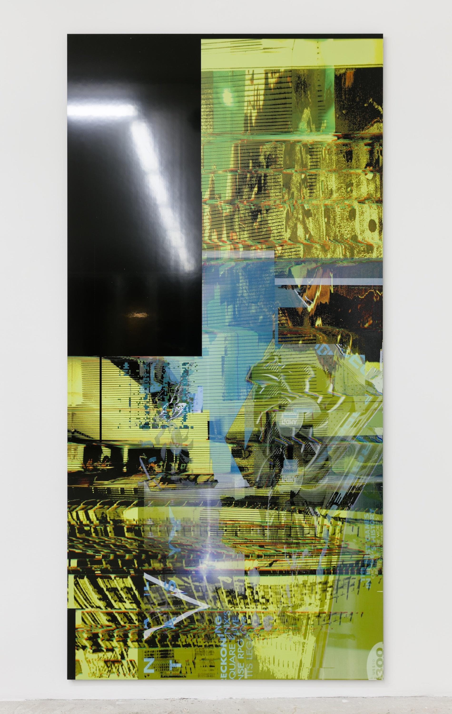 Chris Dorland Untitled (Apache Struts), 2017 UV ink on Alumacore 94 x 46 inches, courtesy Lyle & King, New York and Super Dakota, Brussels.