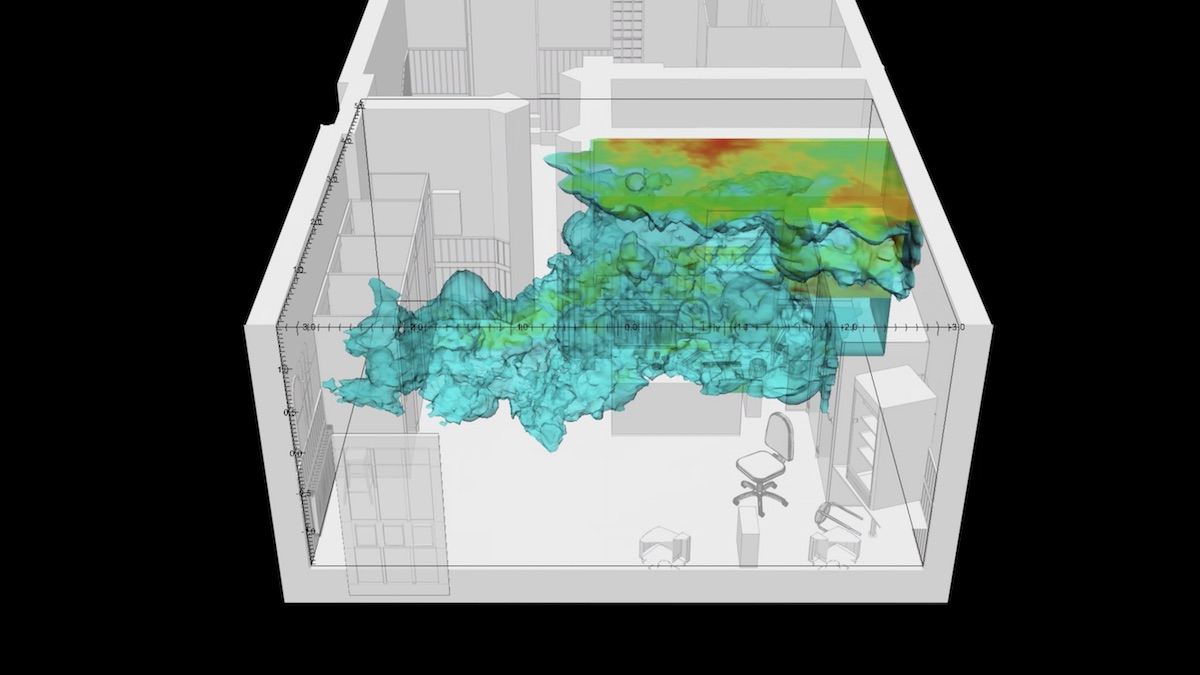 Fluid dynamics simulation of gunpowder residue particles (ammonia) within the front room of the internet cafe in which the murder of Halit Yozgat on 6 April 2006 occurred. Image: Forensic Architecture and DrSalvador Navarro-Martinez, 2017