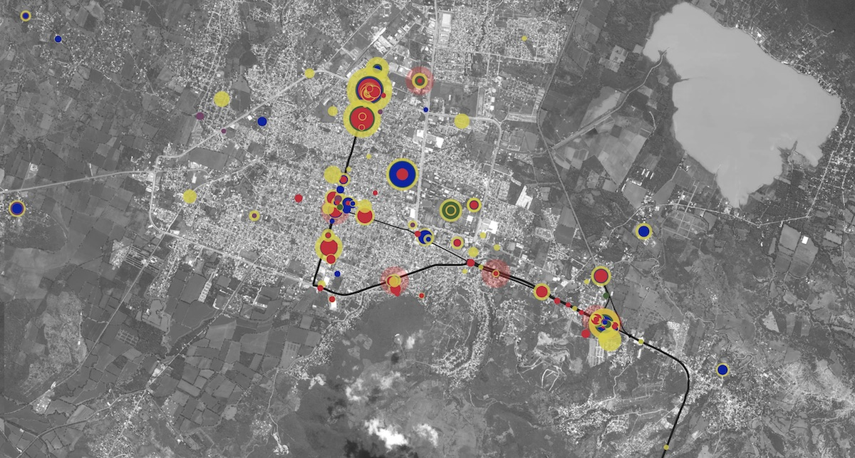 The Ayotzinapa Platform enables users to explore the relationship between thousands of events and hundreds of actors from the night of 26-27 September 2014. Image: Forensic Architecture, 2017