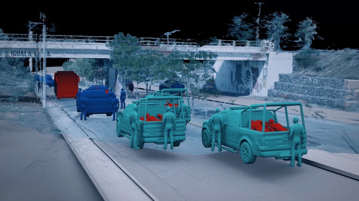 Through 3D modelling, Forensic Architecture reconstructed the attack at the Iguala Palacio de Justicia on the night of 26-27 September 2014. Between twelve and fourteen students (red) were beaten up and loaded into the back of multiple police vehicles (turquoise)<br /> Image: Forensic Architecture, 2017