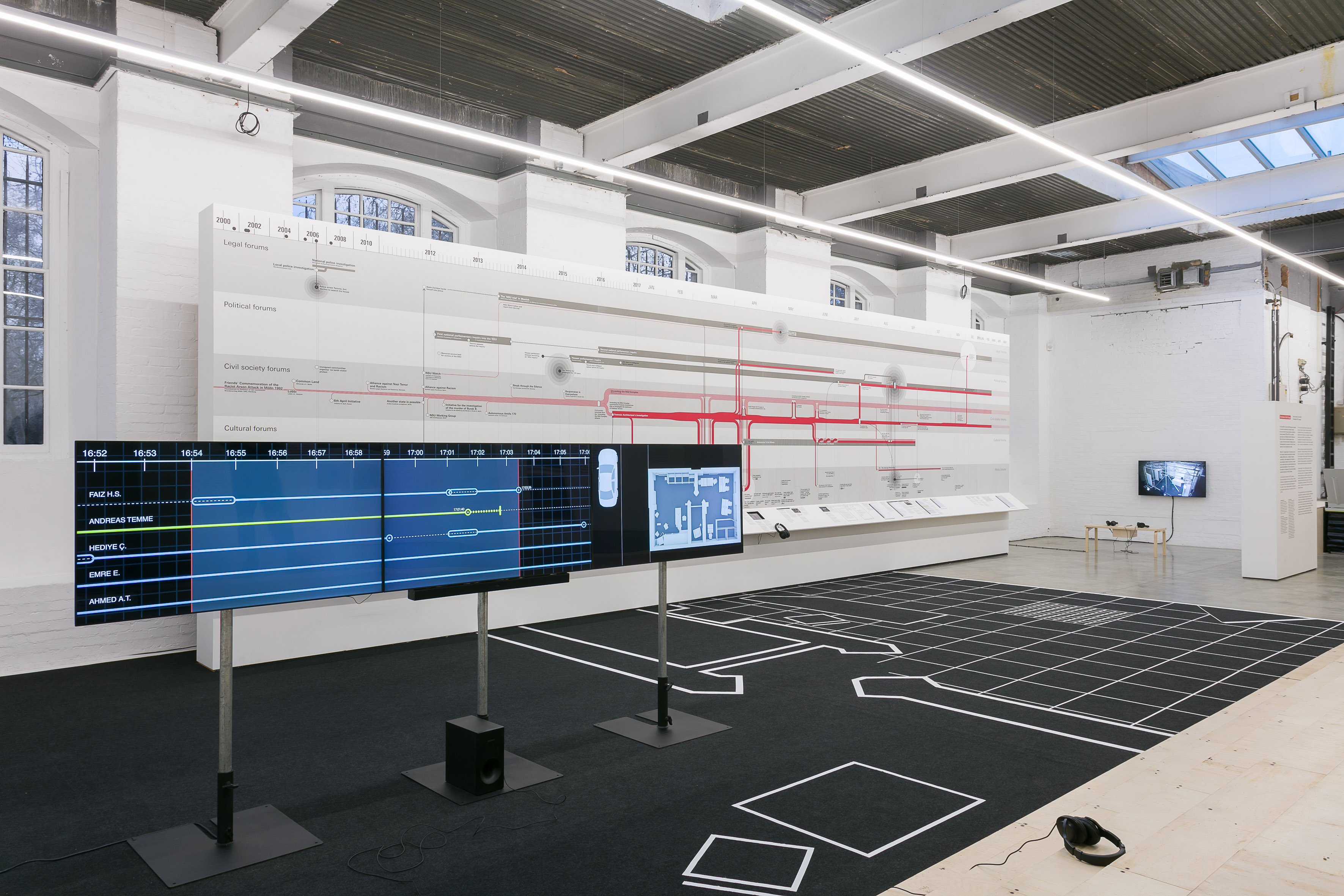 Installation view of Counter Investigations: Forensic Architectureat the Institute of Contemporary Arts. Photo: Mark Blower