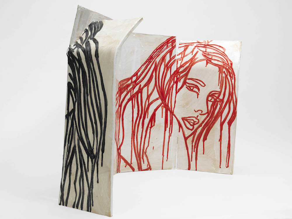 Ghada Amer, Sculpture in Black, Red and White, 2017