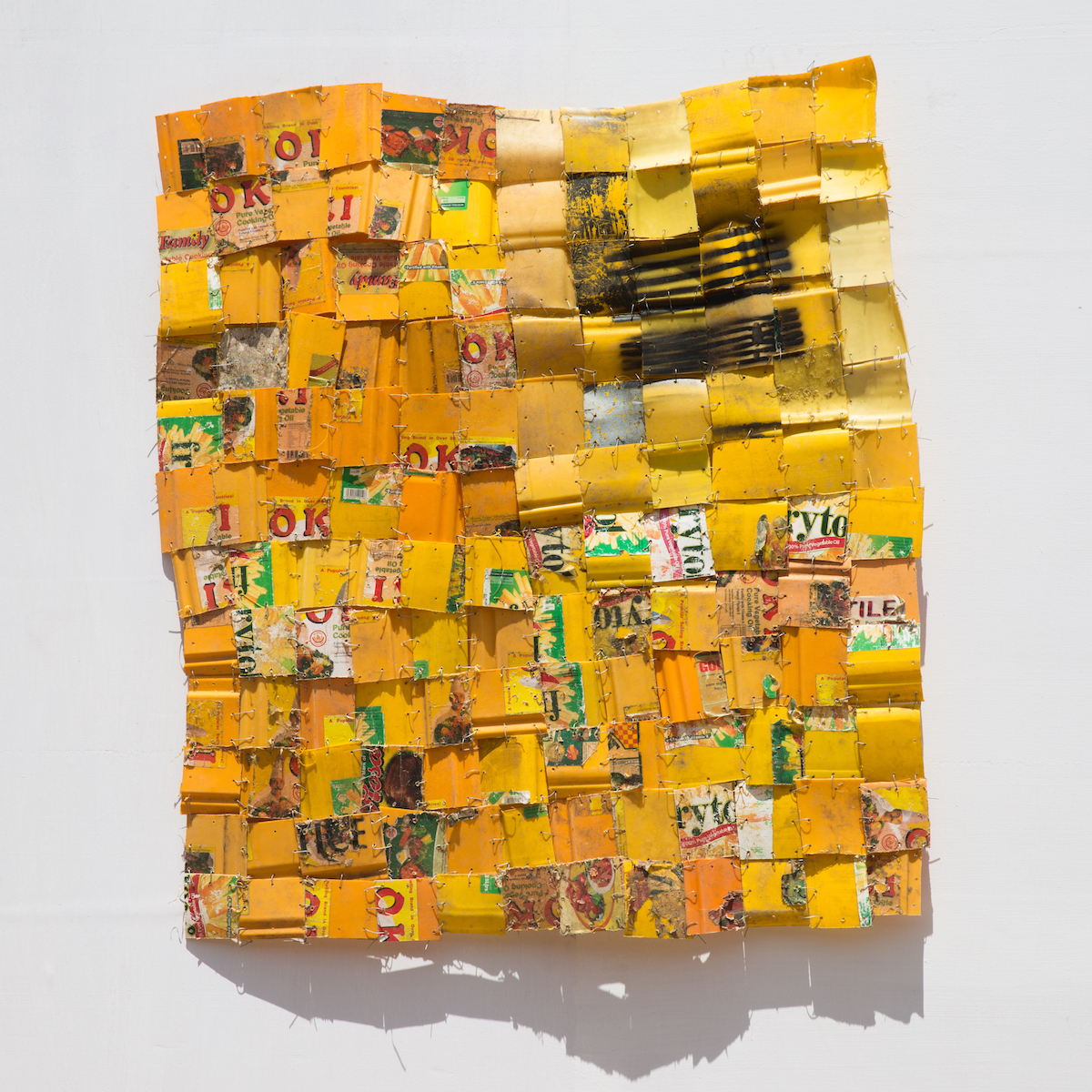 Serge Attukwei Clottey, Daily Dispatched 3, 2017, Plastic, wire and oil paint. Copyright the artist, courtesy Gallery 1957