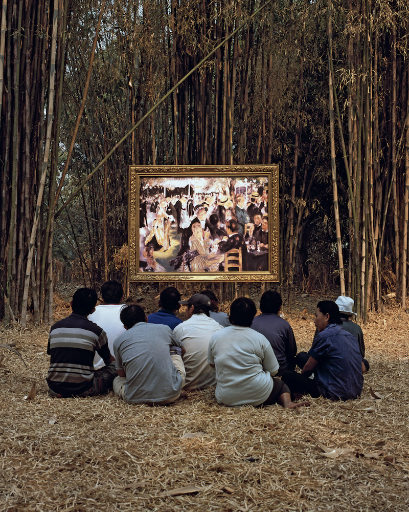 Araya Rasdjarmrearnsook, Renoir's Ball at the Moudin de la Galette and the Thai Villagers, from the series Dow Song Duang (The Two Planets), 2008, video still. Courtesy the artist and Tyler Rollins Fine Art, New York