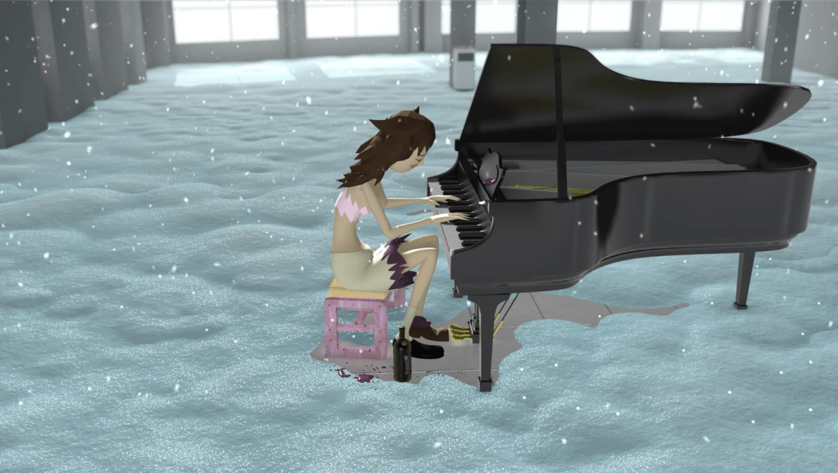 Bunny Rogers, Mandy's Piano Solo in Columbine Cafeteria, (still), 2016, animated film
