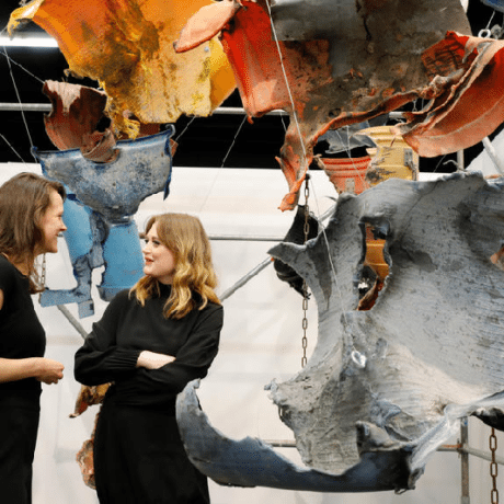 Max Frisinger's falling Sleeves at Galerie Gisela Clement