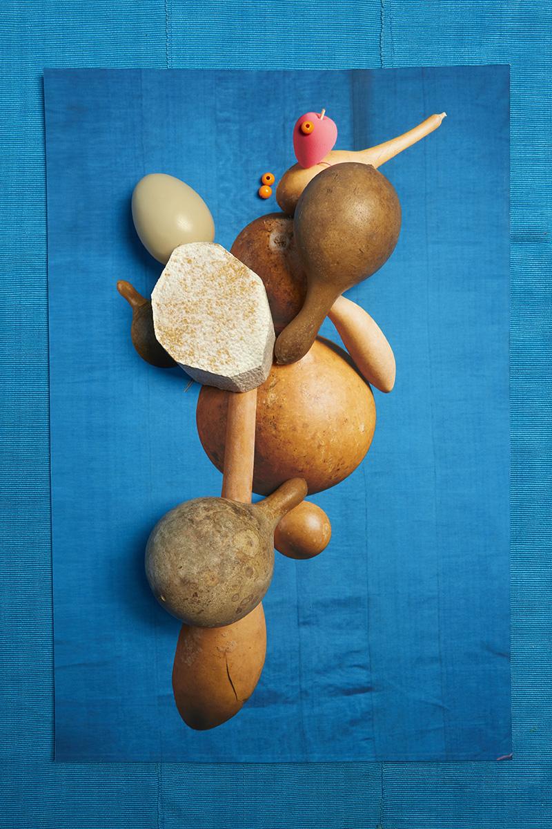 Lorenzo Vitturi, Yam, Calabashes, Aso-oke, Egg and Pink Sponge, 2017