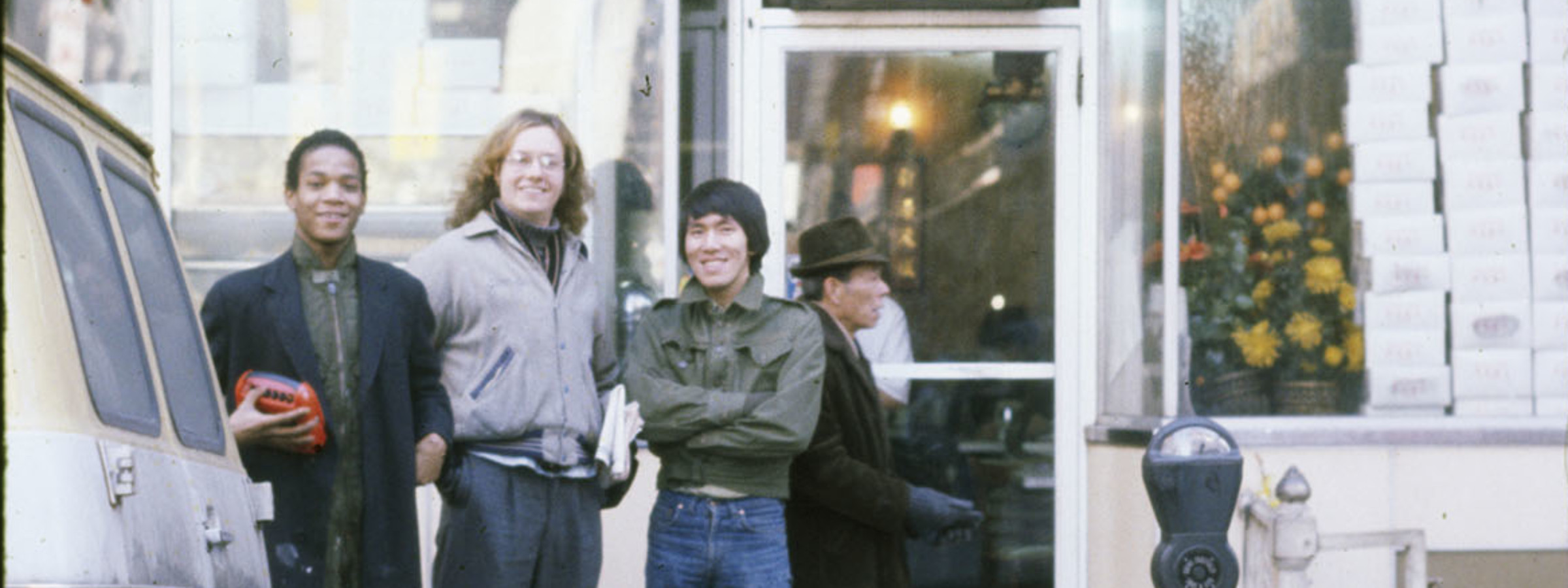 Alexis Adler, Jean and Friends outside Golden Gate Coffee Shop