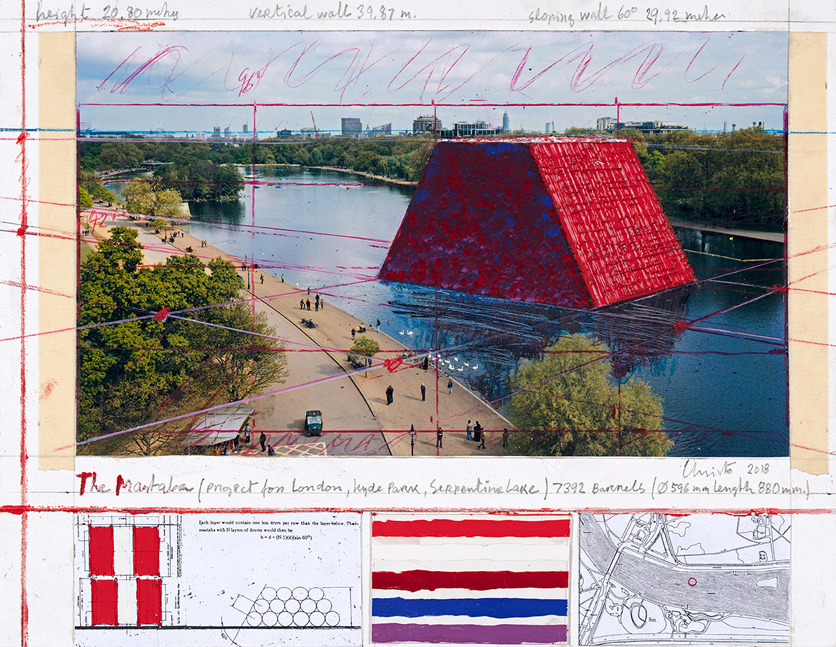 The Mastaba (Project for London, Hyde Park, Serpentine Lake), Collage 2018, photo: André Grossmann, © 2018 Christo