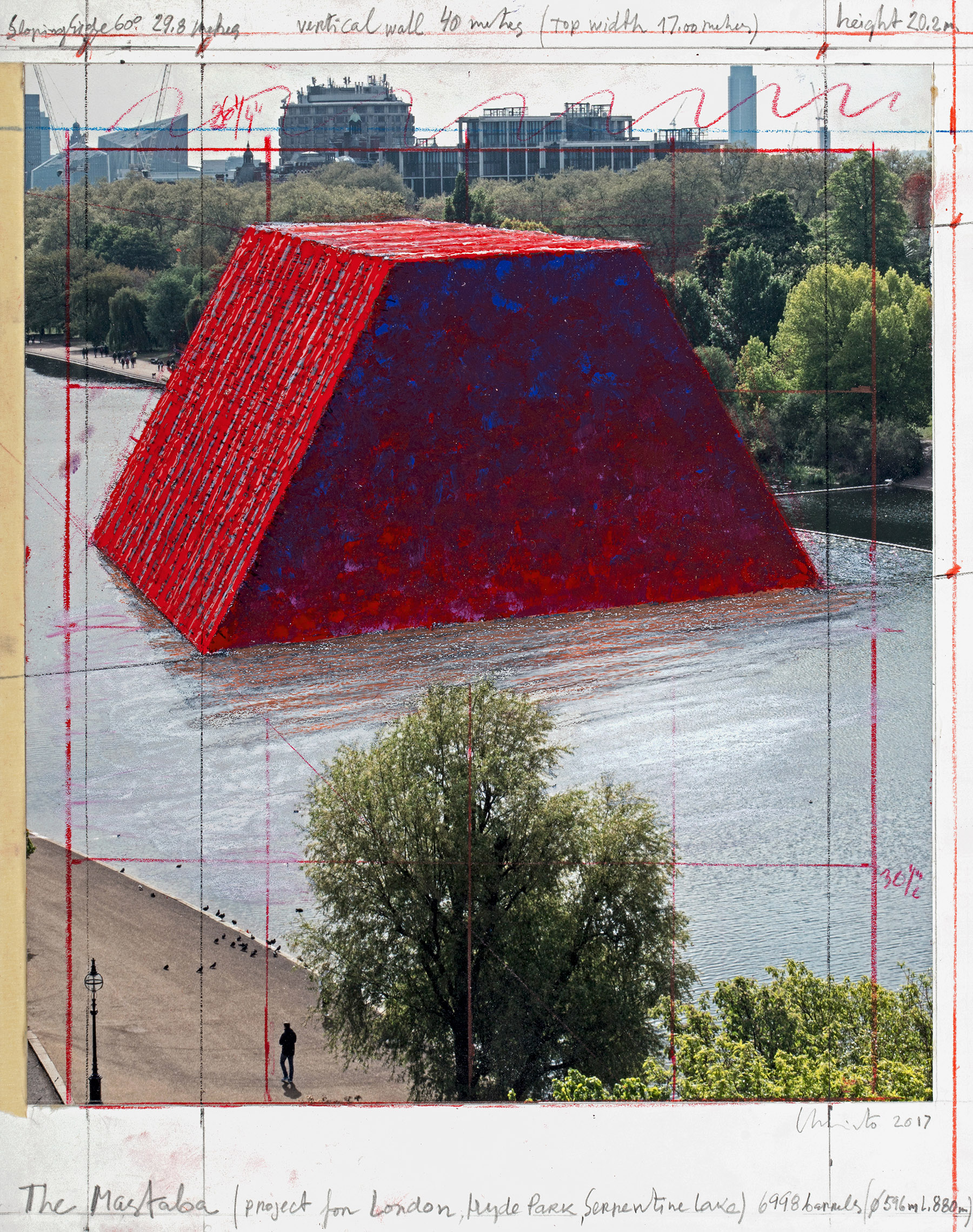 The Mastaba (Project for London, Hyde Park, Serpentine Lake), Collage 2017, photo: André Grossmann, © 2017 Christo