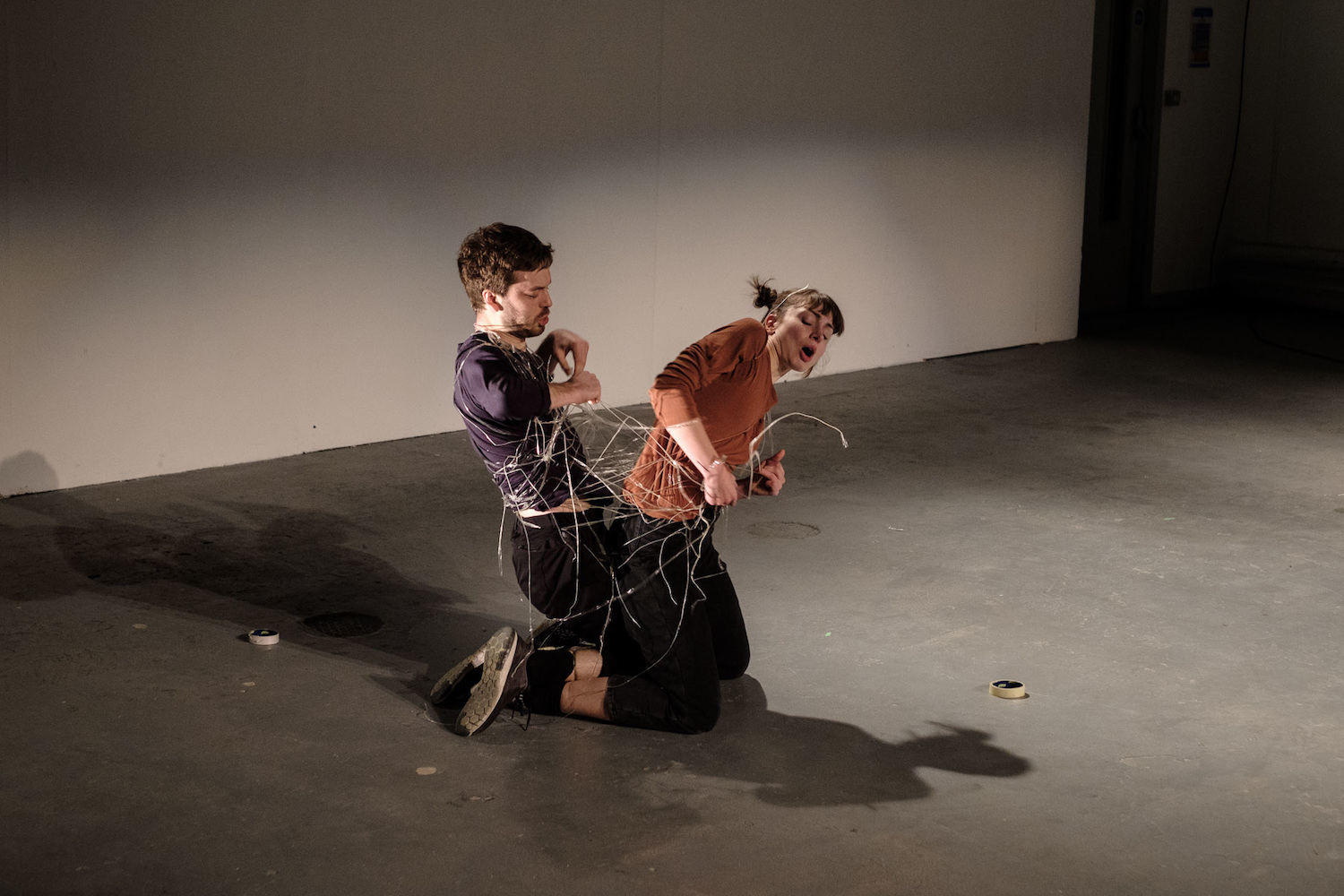 Tape Piece by Andy Ingamells and Maya Verlaak performed by Rowland Hill (right) and Jack Sheen at London Contemporary Music Festival, 2017
