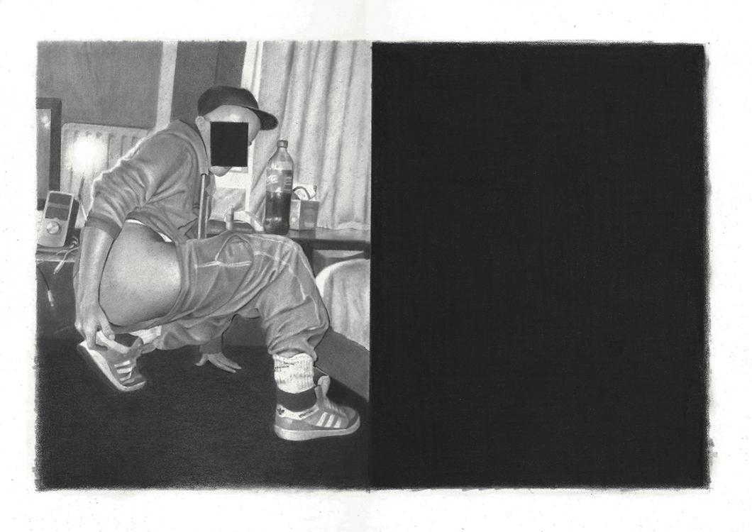 David Haines, Dark Reflection II, 2015. Graphite on paper, 36 x 26 cm