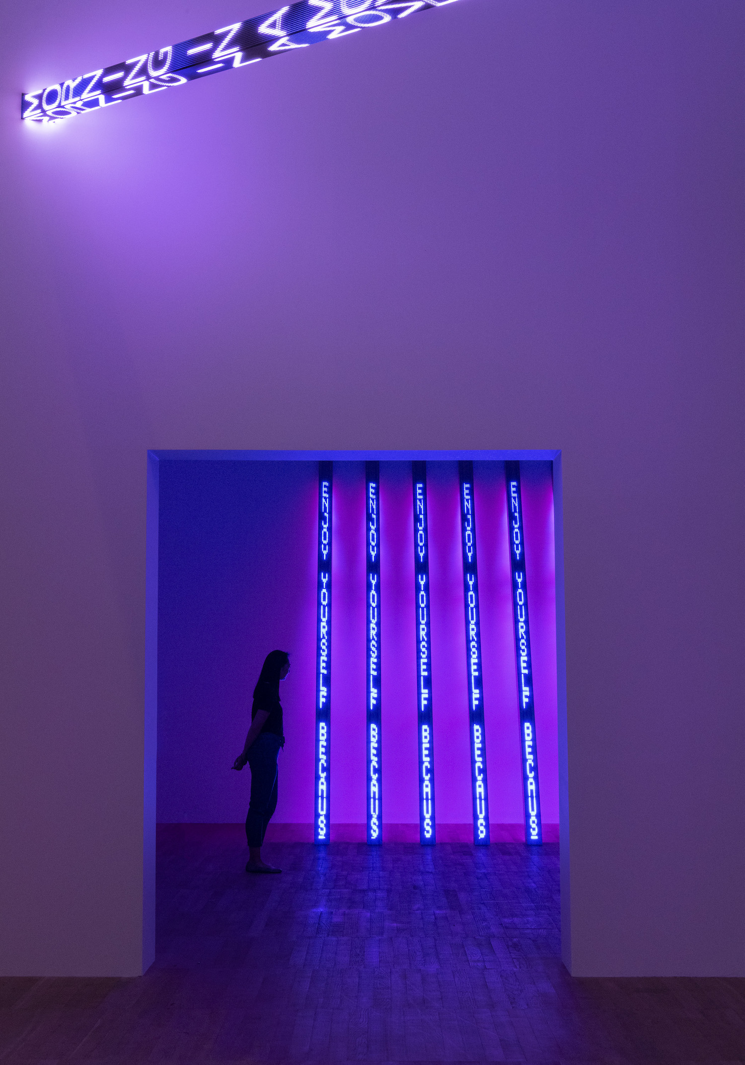 Installation view of ARTIST ROOMS: Jenny Holzer at Tate Modern (23 July 2018–July 2019) ©Tate (Andrew Dunkley)