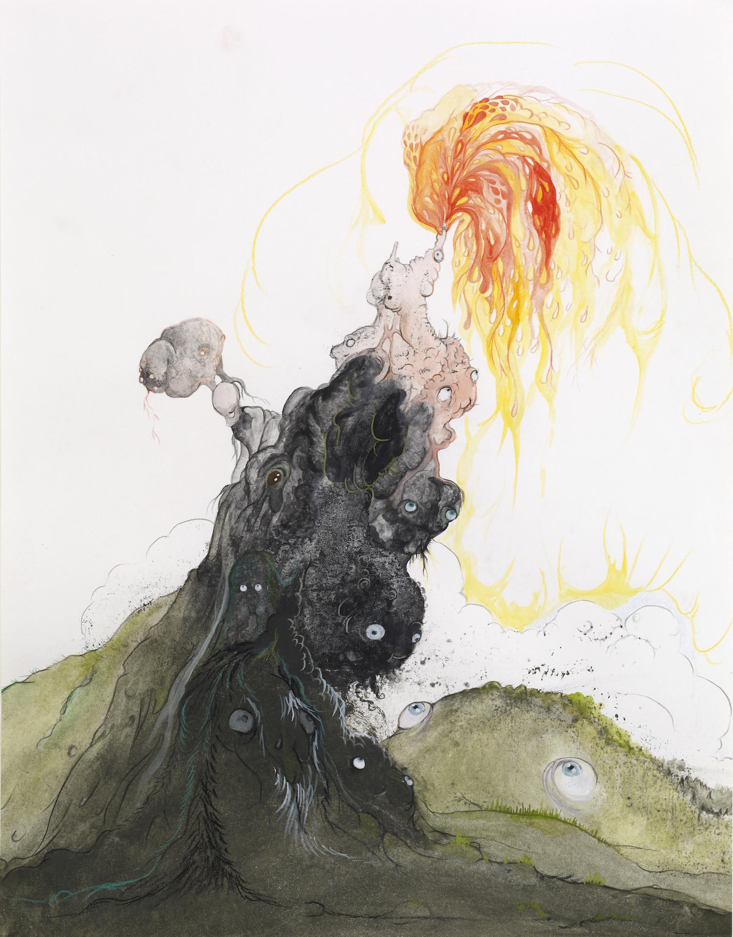 Vidya Gastaldon, Fontaine d'Esprits, 2008. Watercolor, acrylic, gouache, coloured pencil on paper, 37 x 29 cm. Courtesy the artist and Art: Concept, Paris. Photo by Fabrice Gousset