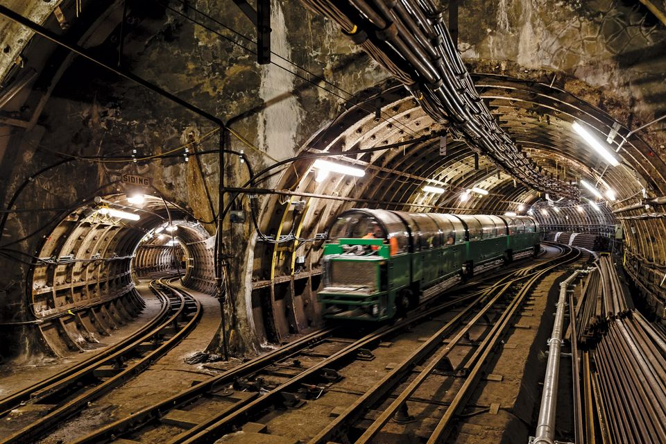 Mail Rail train tunnel at The Postal Museum, London. Photo by Miles Willis Courtesy The Postal Museum