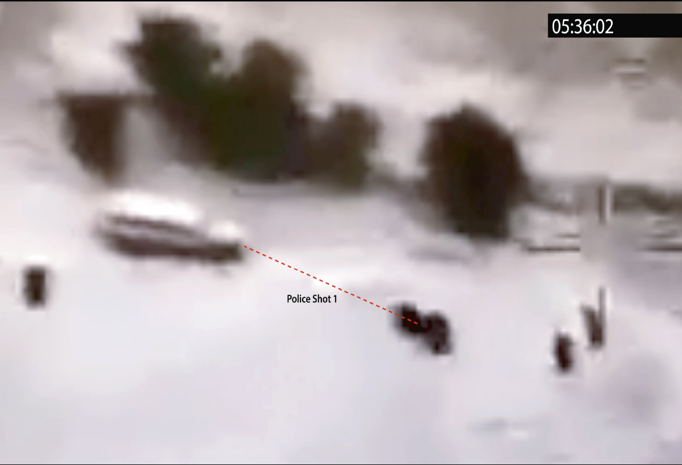 © Forensice Architecture, 2018. Killing in Umm al-Hiran, 18 January 2017 (still). Annotations by Forensic Architecture on Israeli police footage