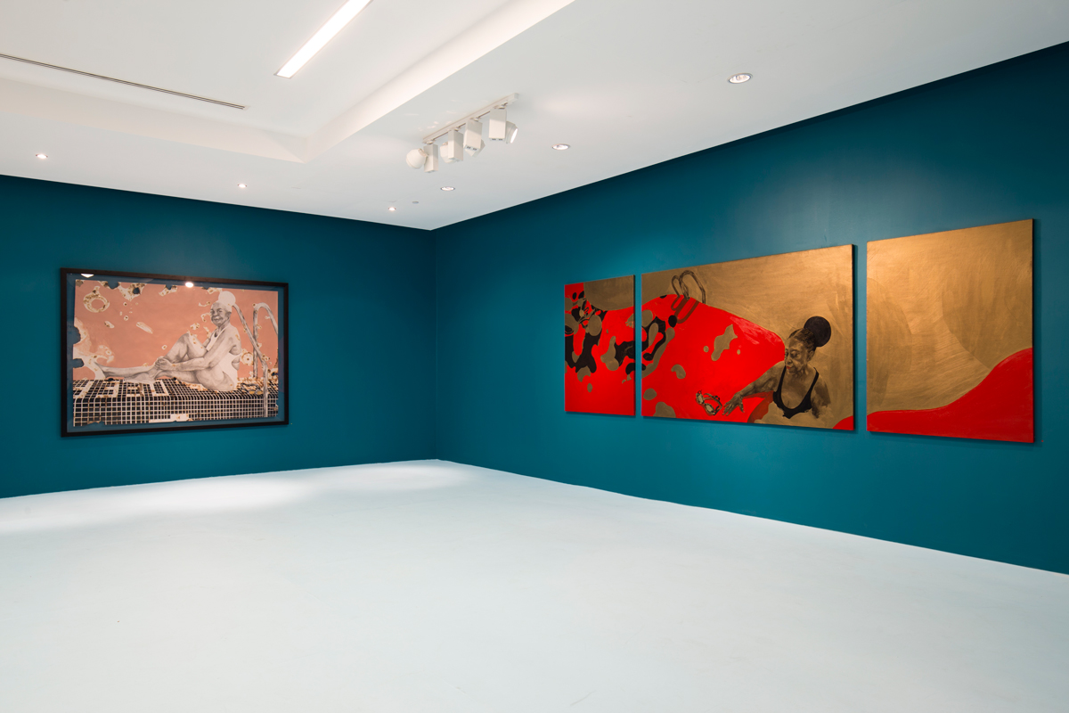 Modupeola Fadugba, Dreams from the Deep End, installation view at Gallery 1957, Accra (2018). Photo Nii Odzenm, © the artist, courtesy Gallery 1957, Accra
