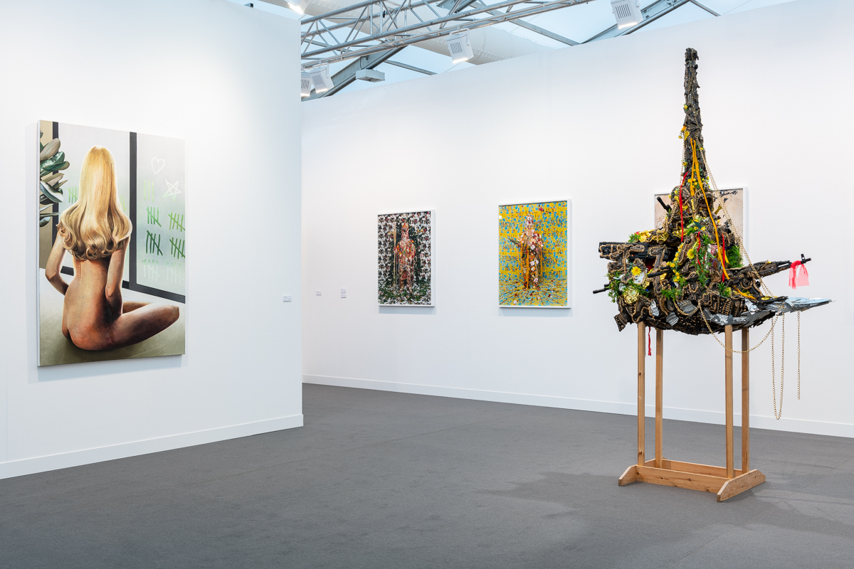 Installation view at Frieze London 2018 featuring Hew Locke's Golden Horde 2, 2006. Courtesy of the artist and P•P•O•W, New York