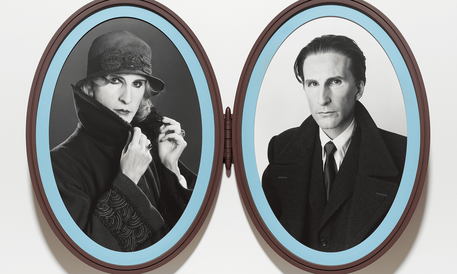 Gillian Wearing (b. 1963, Britain), Me as Madame and Monsieur Duchamp, 2018, bromide prints in articulated frame. © Gillian Wearing, Courtesy of the artist, Maureen Paley, London, Tanya Bonakdar Gallery, New York / Los Angeles, and Regen Projects, Los Angeles