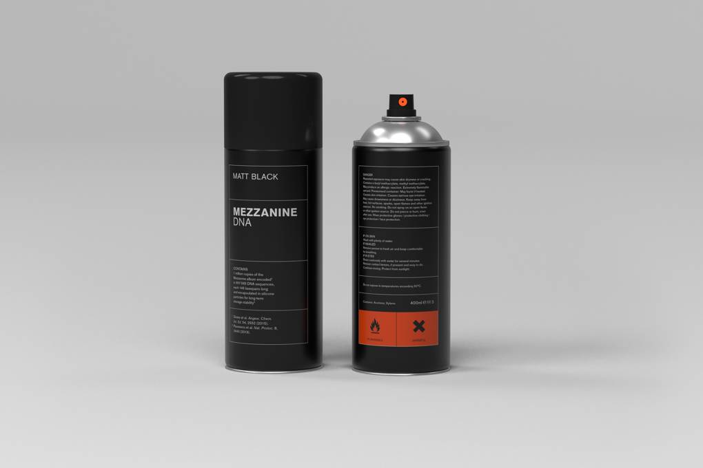 Massive Attack album Mezzanine, in the form of DNA-encoded spray paint