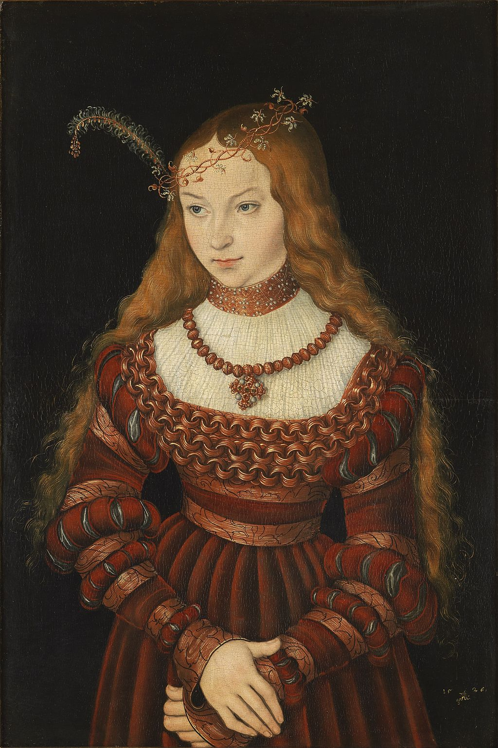 Lucas Cranach the Elder, Sibylle of Cleves at the time of her betrothal to Electoral Prince John Frederick, 1526