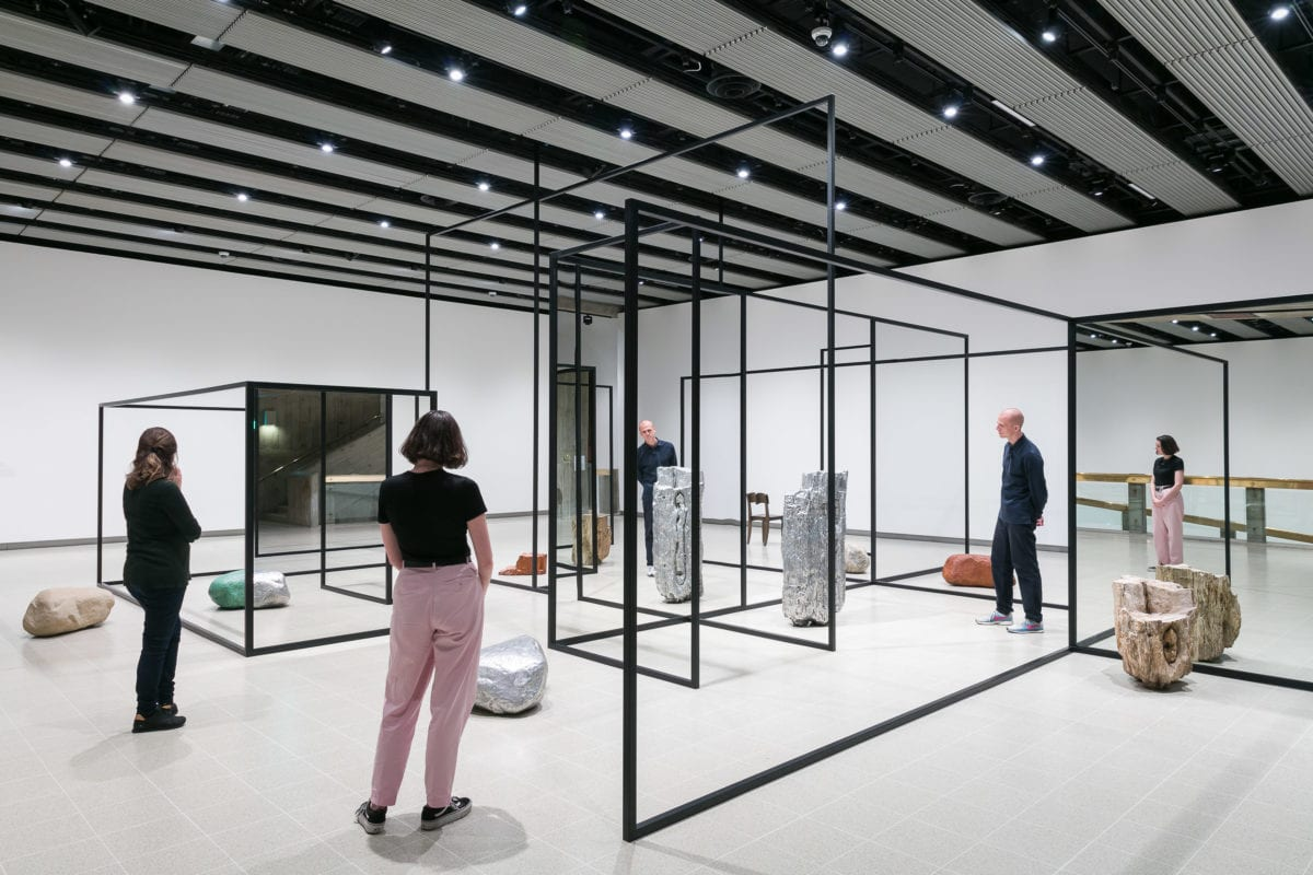 Installation view of Alicja Kwade's WeltenLinie, 2017, at Space Shifters © copyright the artist, courtesy Hayward Gallery 2018. Photo by Mark Blower.