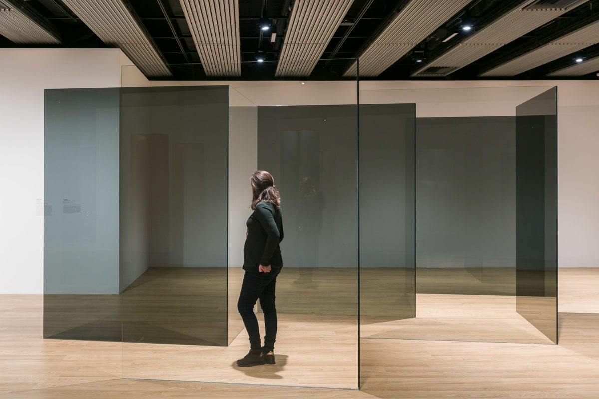 Installation view of Larry Bell, Standing Walls, 1969, at Space Shifters © copyright the artist, courtesy Hayward Gallery 2018. Photo by Mark Blower.