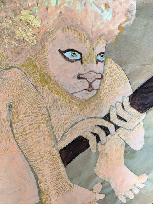 Jesse Darling, Lion in wait for Jerome and his medical kit (detail), 2018 © Jesse Darling, courtesy the artist and Arcadia Missa