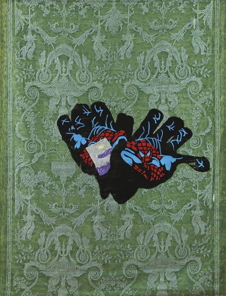 Dark Woollen Gloves with Red and Blue Spiderman print, 2017