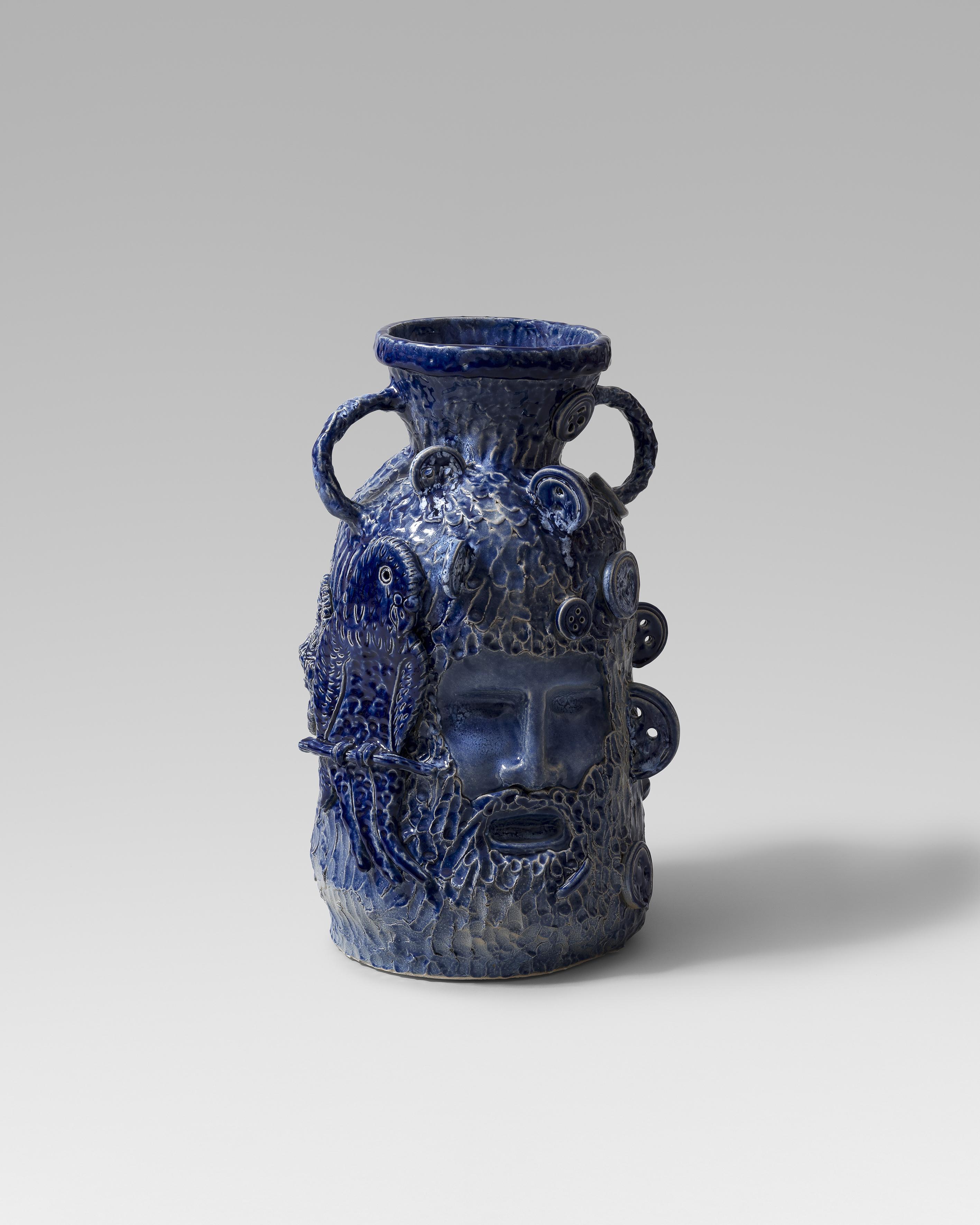Ulysses and Parakeet, 2019. 54 x 31 x 33 cm. Glazed ceramic
