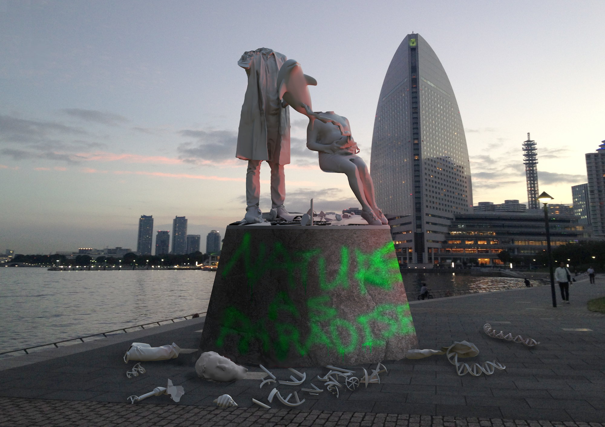 Ai Hasegawa, I Wanna Deliver A Dolphin (Vandalized Statue), 2013