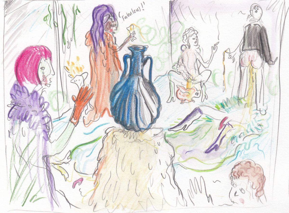 Studies for Veronica's party scene, 2019. Courtesy of the artist and Galerie Antoine Levi