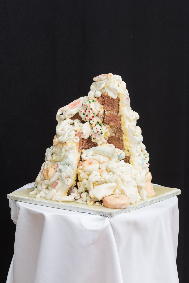 Village Baroque ceremonial gateau, icing, sponge, butter cream, resin, shown as part of Tender Touches at the Austrian Cultural Forum, 2016