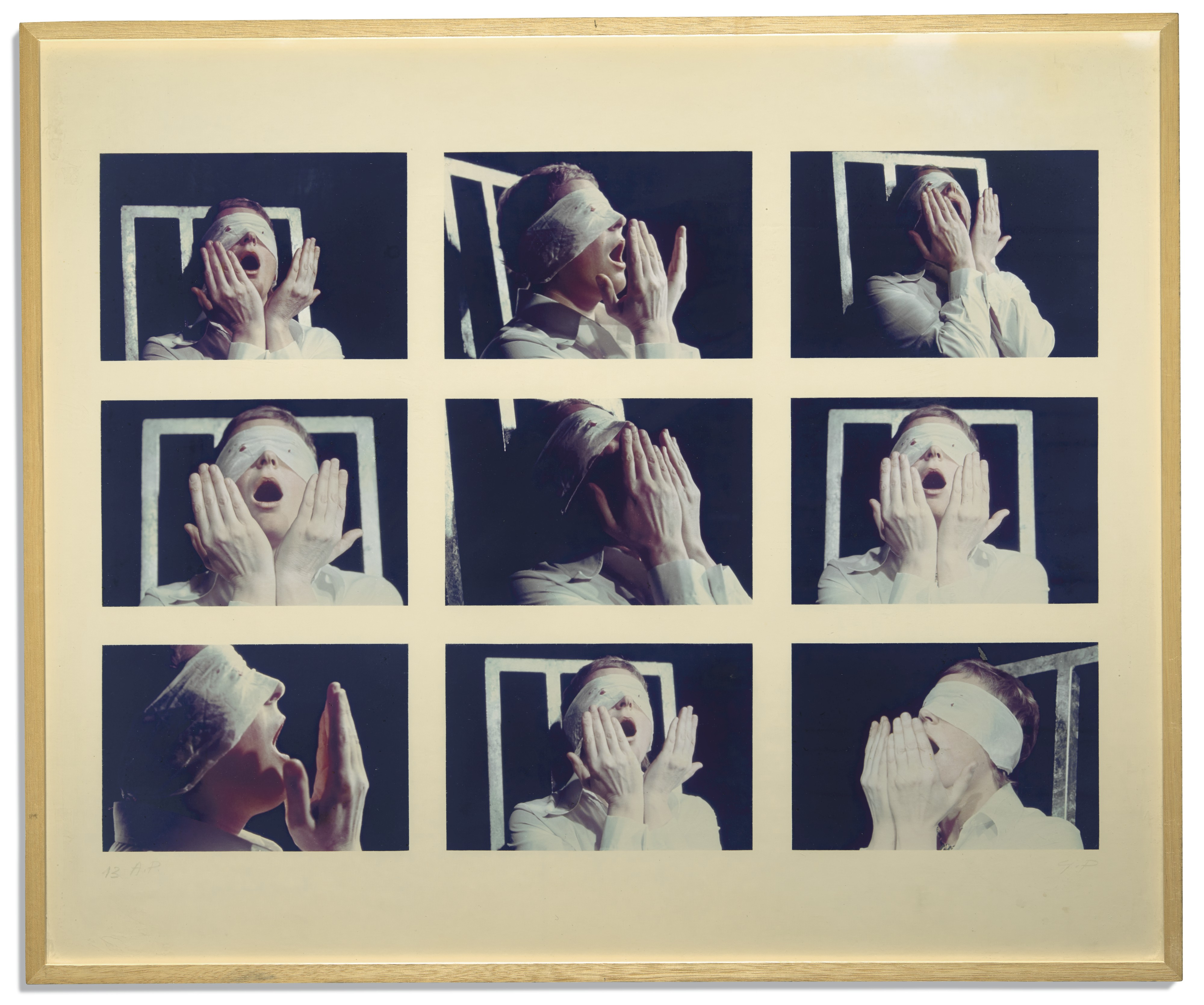 Gina PANE Action Psyché, 1973 (detail) A set of twenty five colour photographs, preparatory drawings, and coloured slides © The Estate of the Artist; Courtesy Richard Saltoun Gallery