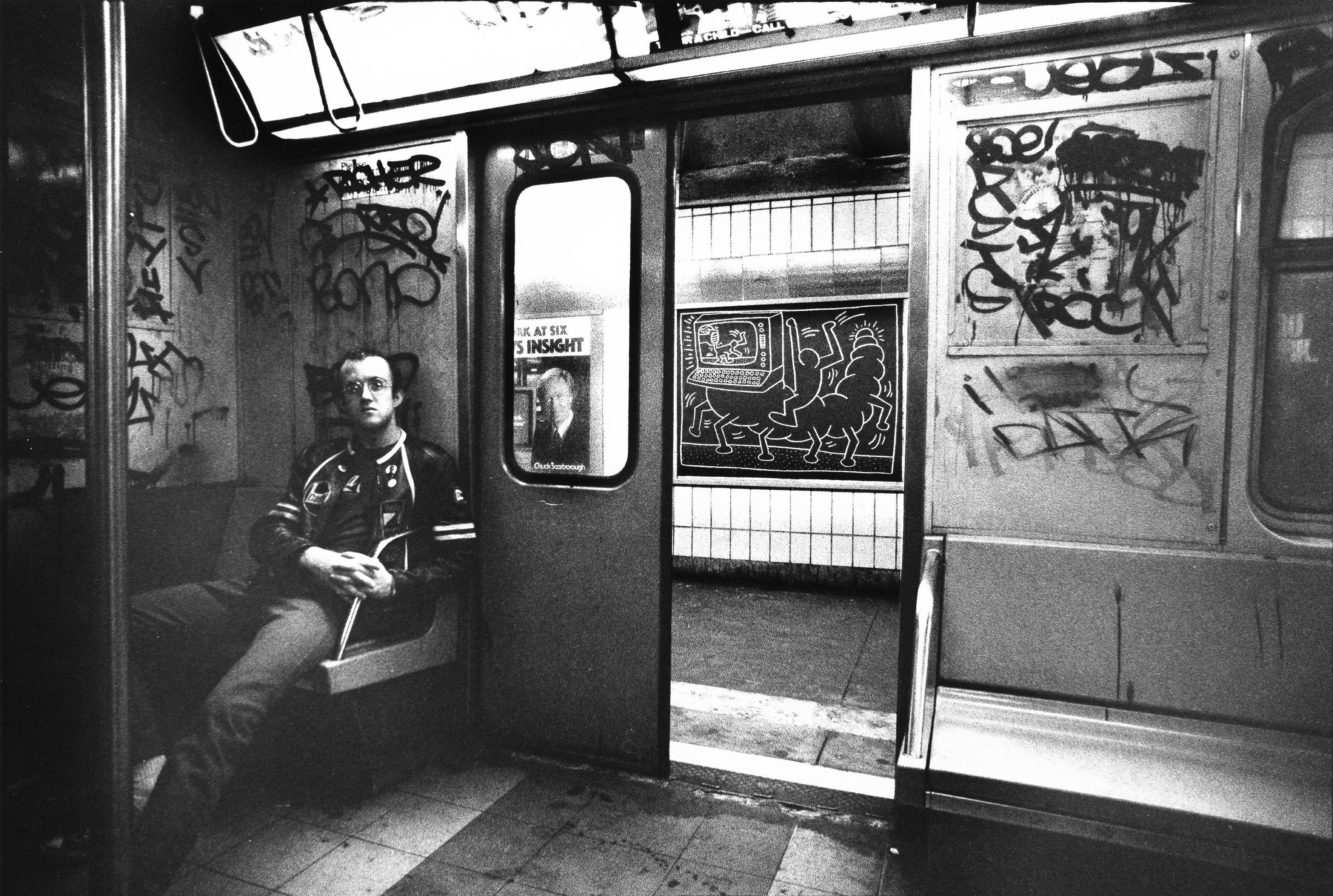 Keith Haring in Subway Car, ca. 1984