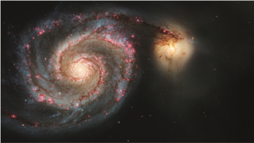 Hubble view of M51A, with M51B in the upper right, known as the Whirlpool Galaxy, around 20 million light years from Earth in the constellation Canes Venatici.