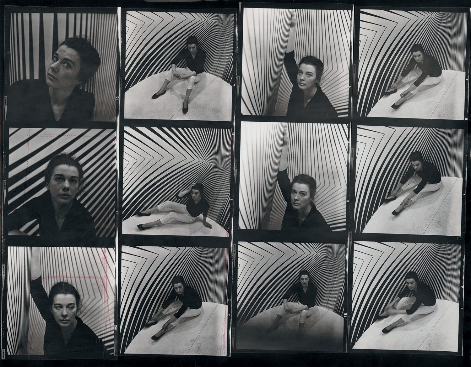 Bridget Riley inside Continuum, contact sheet by Ida Kar, 1963. National Portrait Gallery. From the book Bridget Riley A Very Very Person.