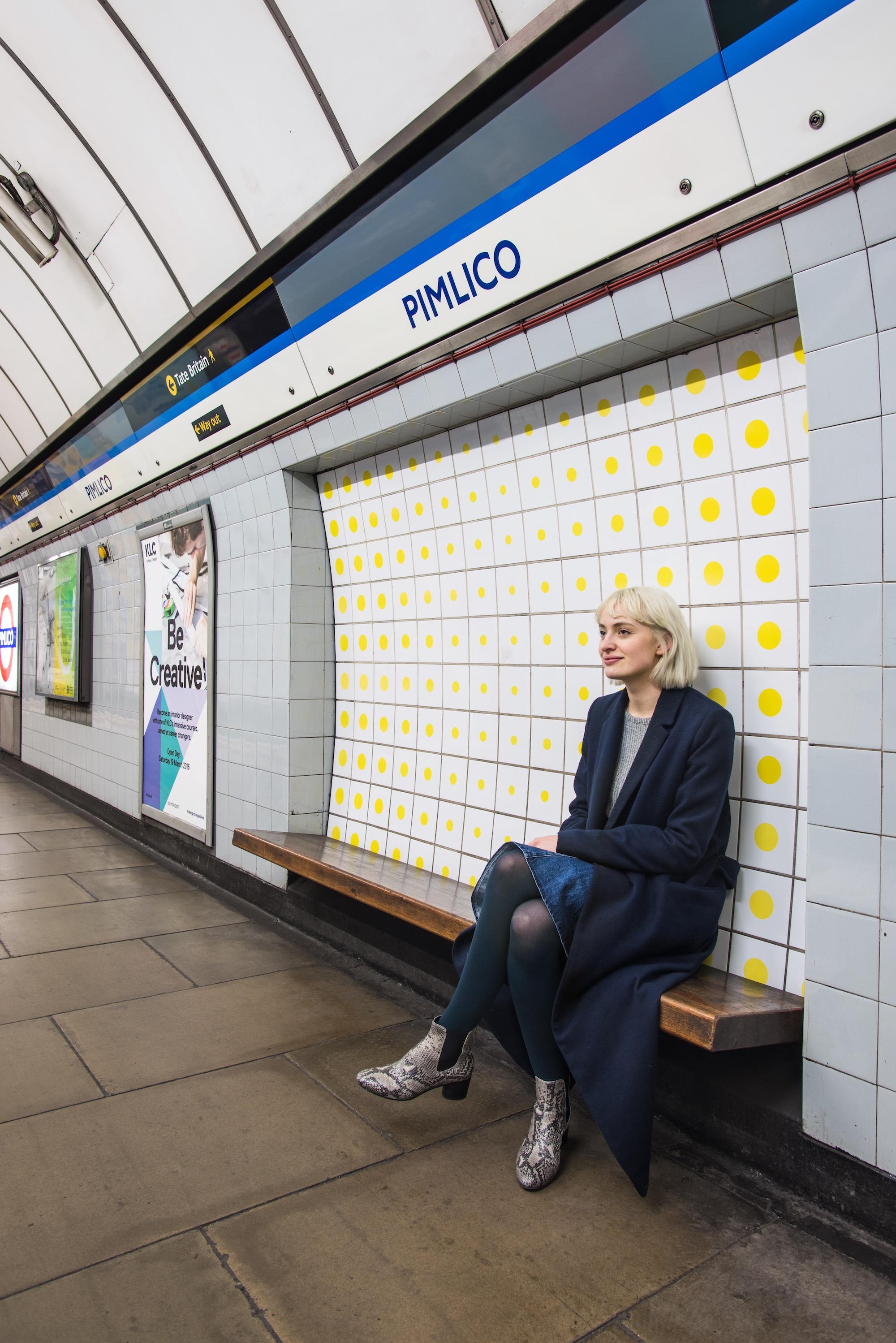 Peter Sedgley tiles at Pimlico