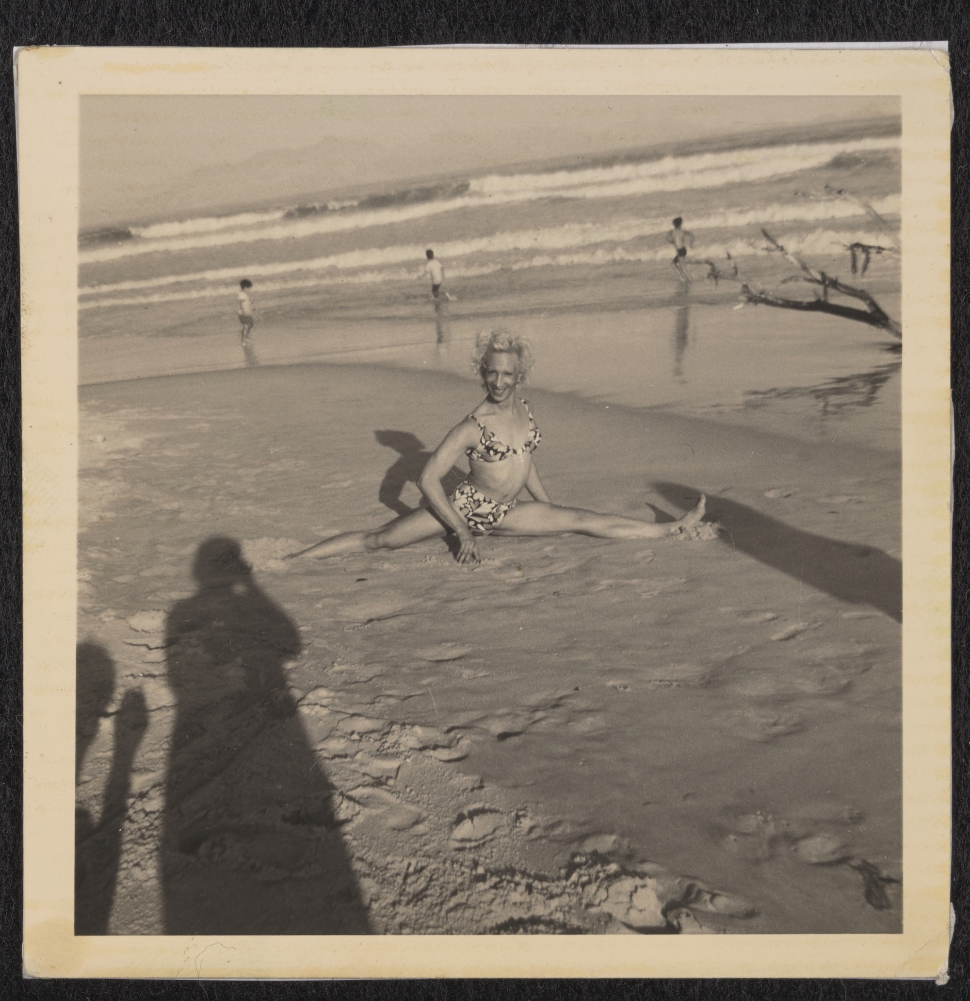 Kewpie Doing a Split at Strandfontein Beach, circa 1975 to 1979