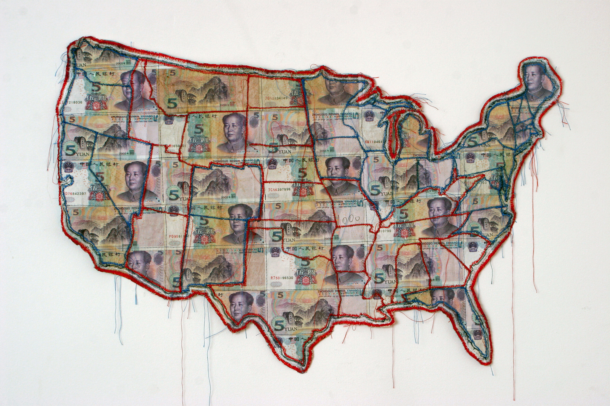 America -An Imperial State, 2010. Edition of 5. Chinese paper currency & thread © Susan Stockwell