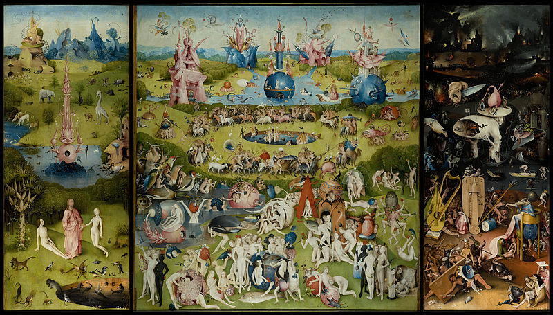 Hieronymus Bosch, The Garden of Earthly Delights. Via Wiki Commons