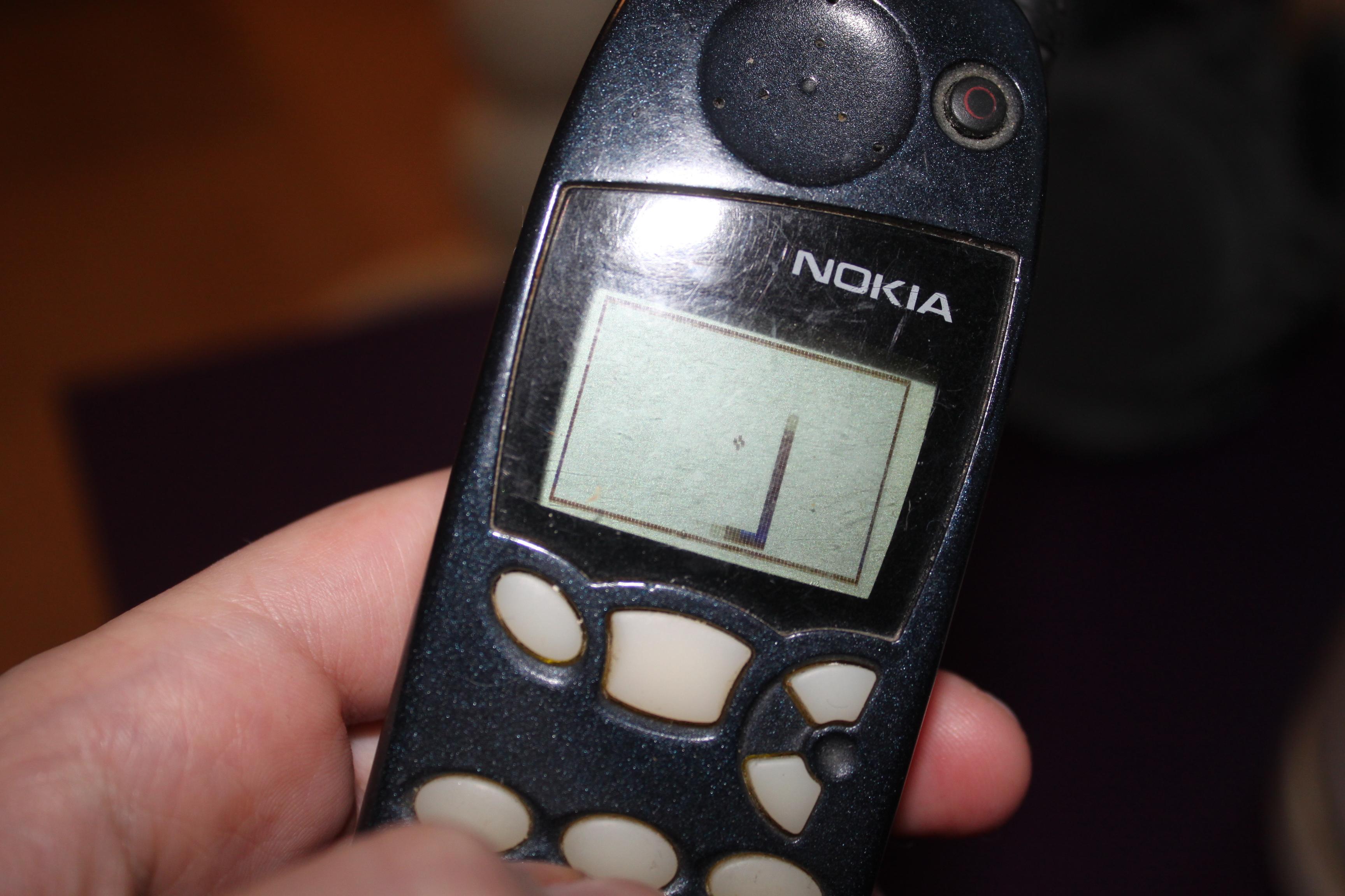 Snake, as seen on a Nokia 5110 phone, courtesy of miryami on imgur