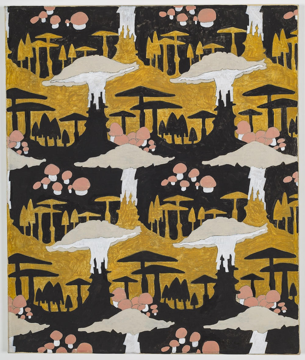 Alex Morrison, Mushroom Motif (Black and Ochre), 2017. Courtesy the artist, care of L'inconnue Gallery, Montreal
