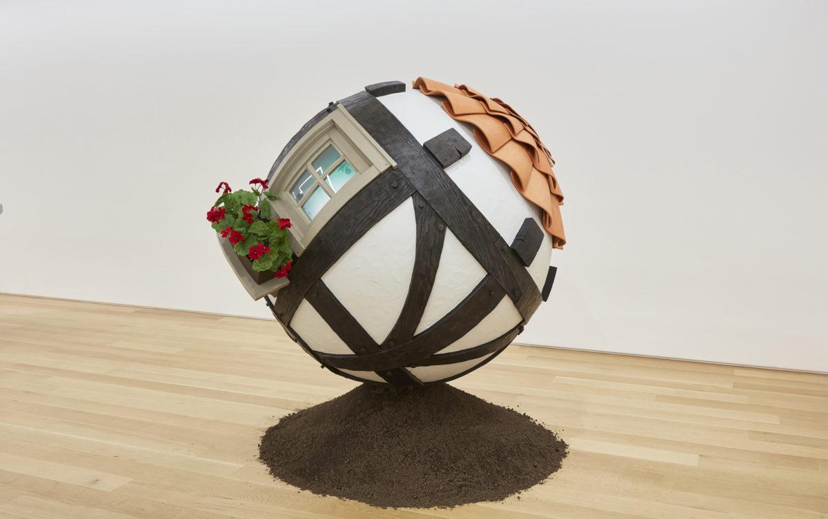 Fisk, Tudor Ball, 2019, wood, stucco, terra-cotta, plastic, steel, glass, diameter 65 in., 165.1 cm, CNON 62.068