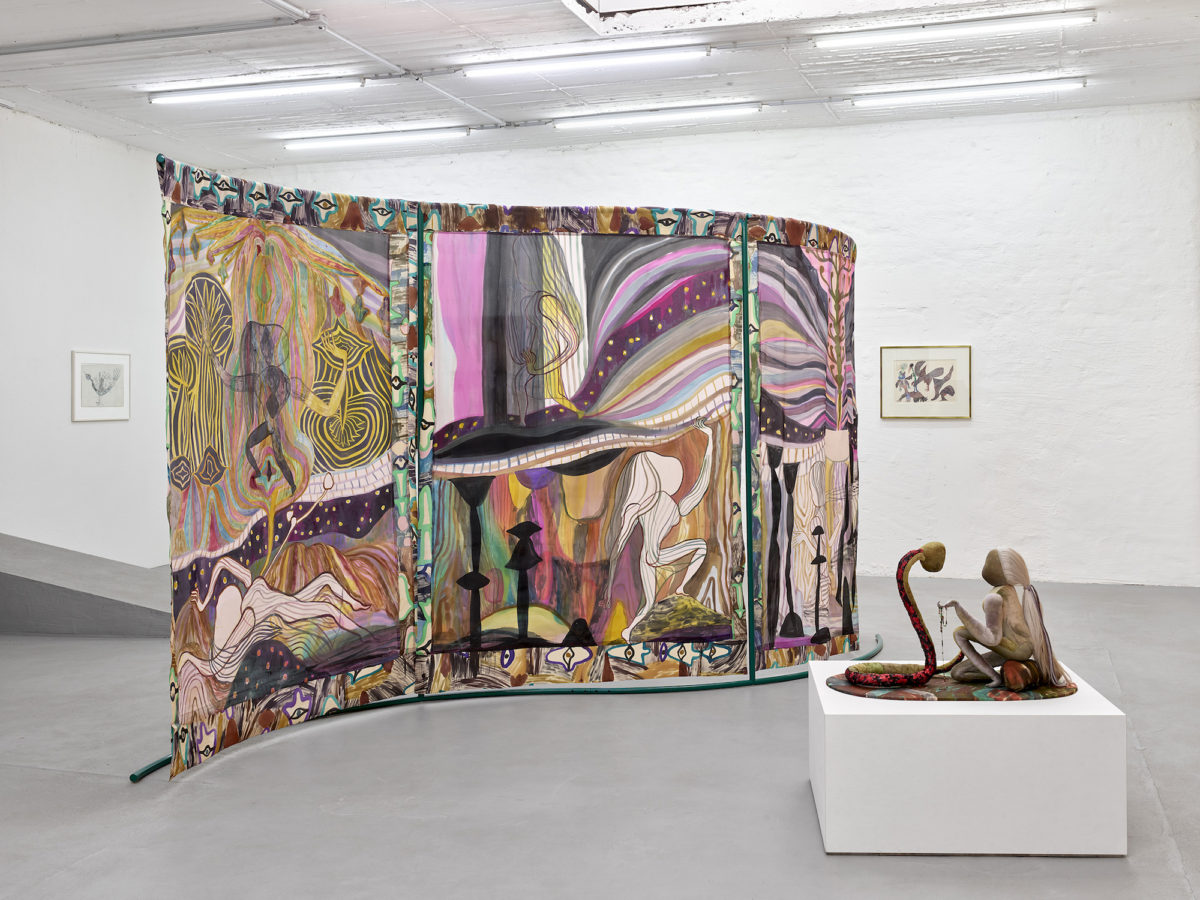 Emma Talbot, Installation view from Emma/Ursula, 2020. Petra Rinck Galerie, Düsseldorf. Photo by Achim Kukulies