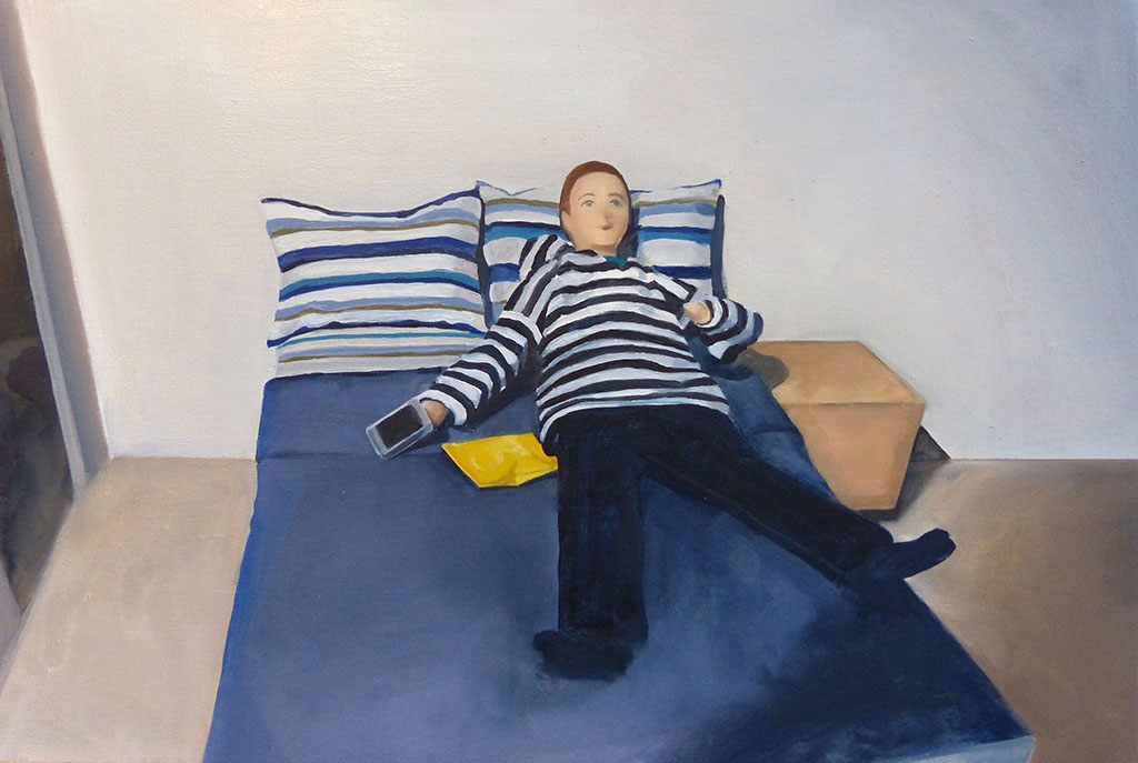 Man on Bed with Chips