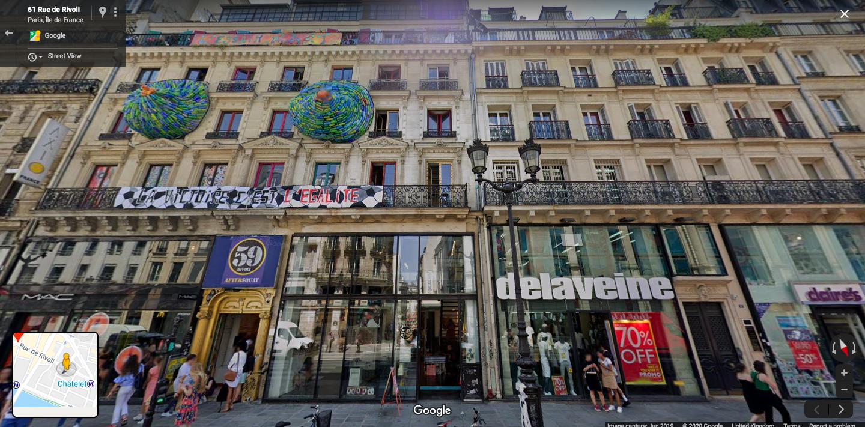 The famous art squat on Paris' Rue di Rivoli as it appeared last summer