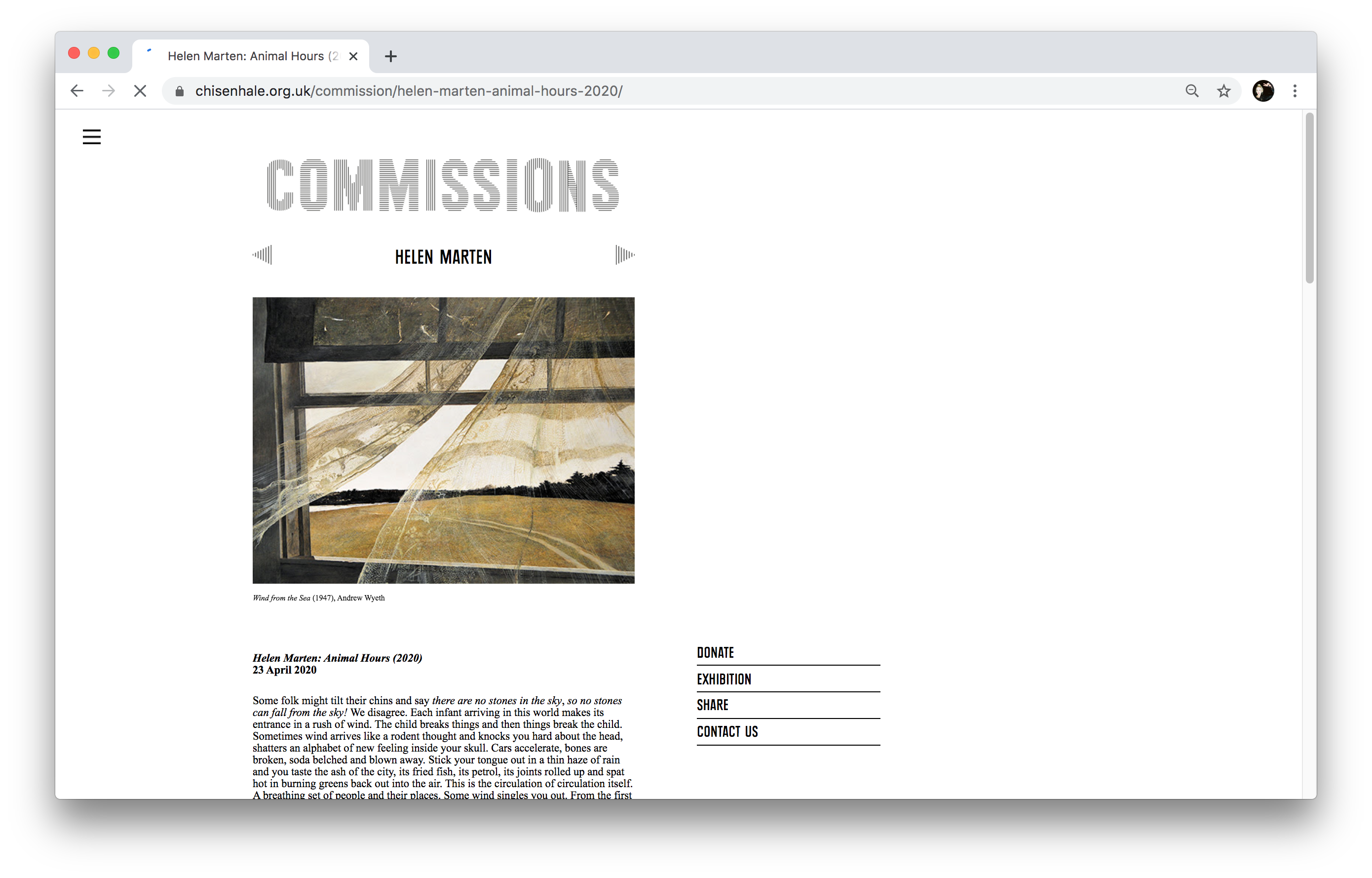 Chisenhale Gallery website, designed by Studio Frith
